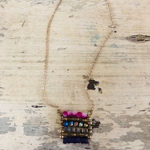 Colorful Beaded necklace with gold chain